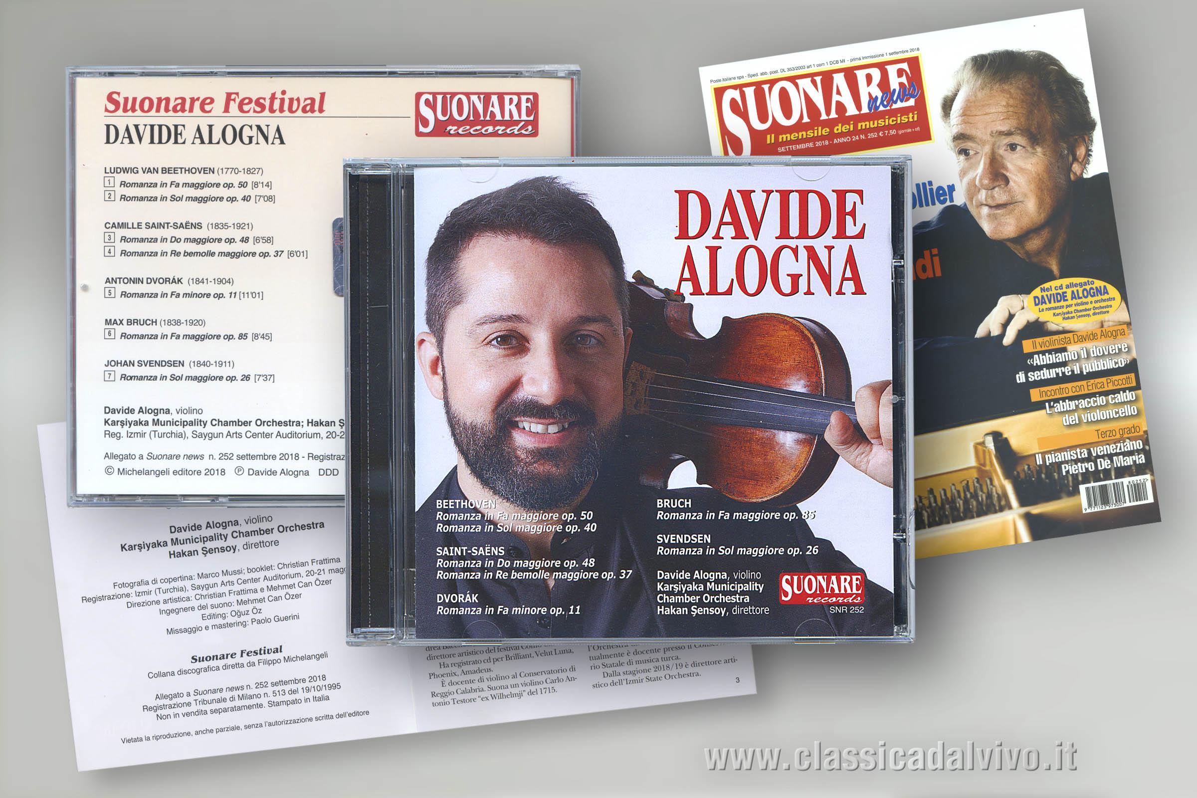 Davide Alogna: romanze per violino e orchestra. Suonare NEWS settembre 2018