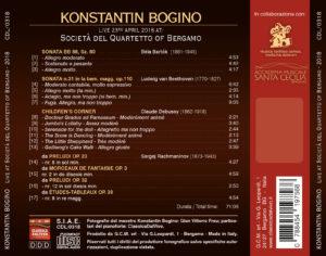 Konstantin Bogino live alla Società del Quartetto di Bergamo