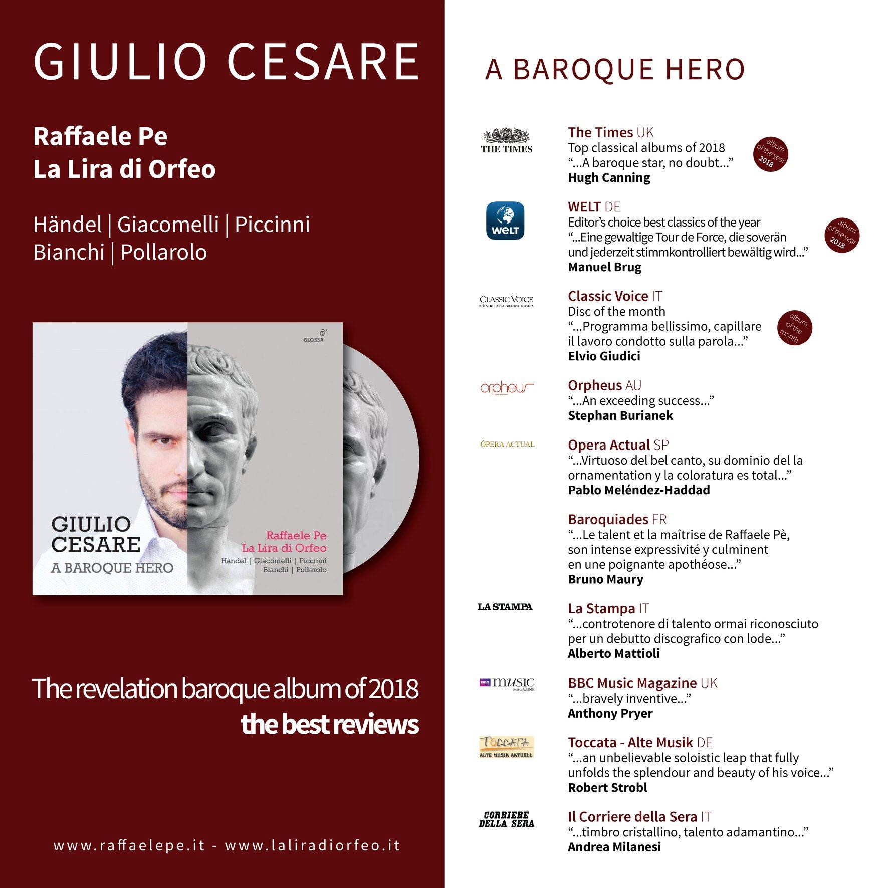 Raffaele Pe Giulio Cesare a Baroque Hero - tutte le recensioni