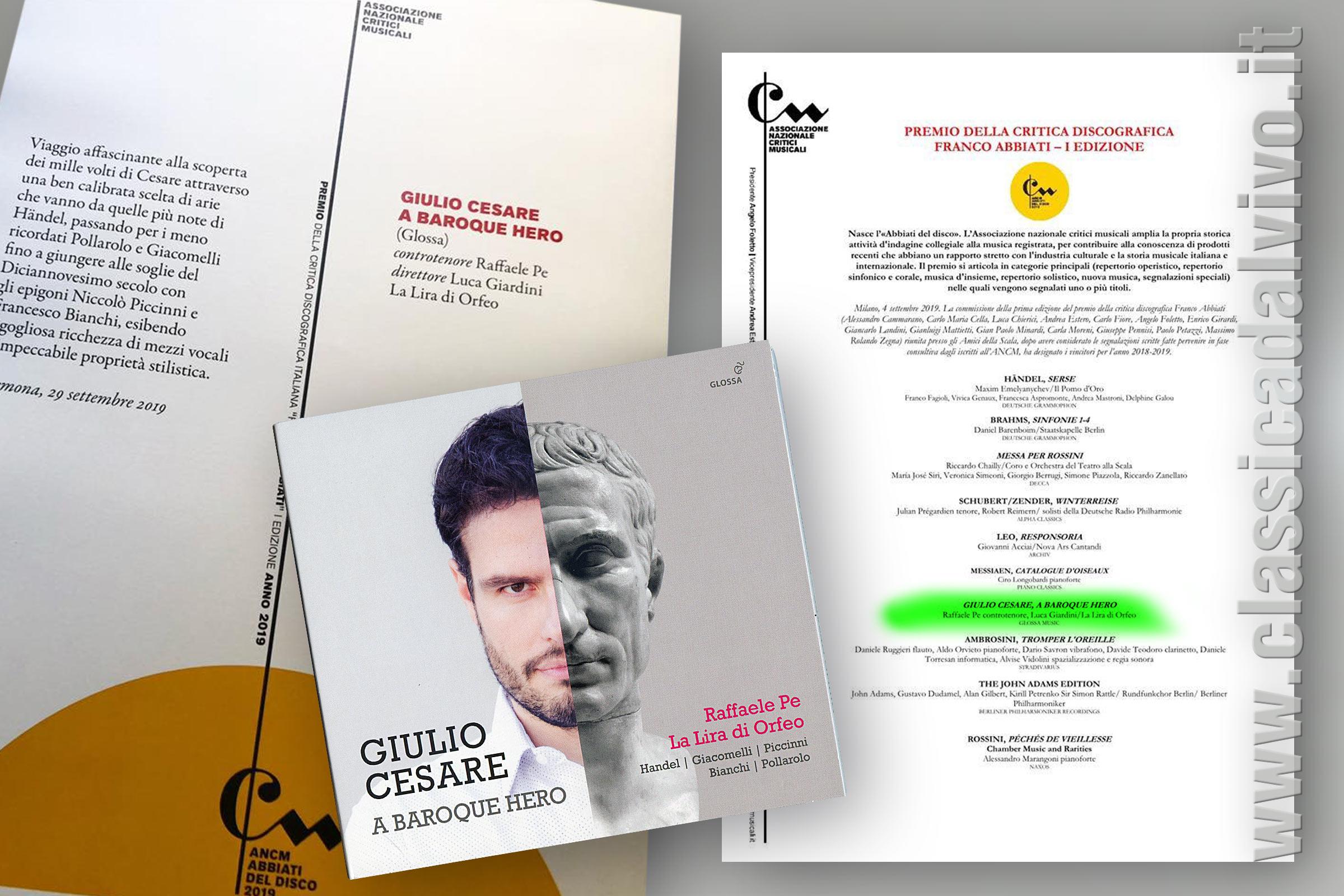 Raffaele Pe Giulio Cesare A Baroque Hero Premio Abbiati 2019